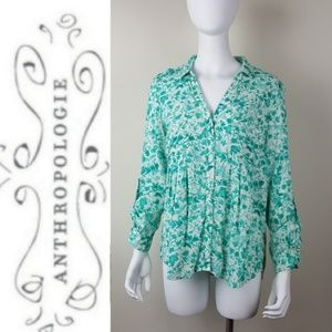 Anthropologie Mauve Green Floral Button Up